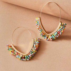 New! Anthro Multi Colored Beaded Hoop Earrings